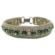 Vintage Weiss Gold Tone Mesh Green Rhinestone Bracelet