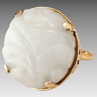 Vintage Mings of Hawaii Jade 14K Yellow Gold Ring, Size 5.75