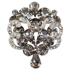 Weiss 1950's Black Diamond Ice Rhinestone Cluster Brooch Pin