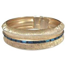 Kramer Blue Rhinestone Baguette Brushed Gold Tone Wide Bangle Bracelet