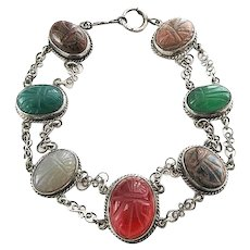 Art Deco Sterling Silver Scarab Gemstone Bracelet with Carnelian, Tigers Eye, Chalcedony, Chrysoprase, Rhodonite Stones