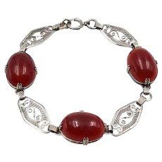 Art Deco Sterling Silver Filigree Carnelian Bracelet