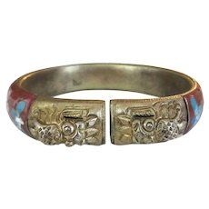 Chinese Export Floral Cloisonne Enamel Gold Tone Brass Foo Dog Wide Bangle Bracelet