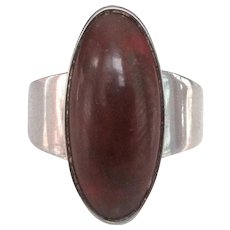 Niels Erik From Sterling Silver Amber Modernist Ring, Denmark Sterling, Scandinavian Jewelry, Band Size 6.5