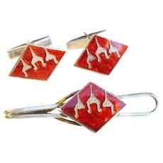 Vintage Siam Sterling Red Enamel Cufflinks and Tie Bar Set