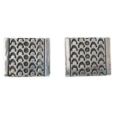 Vintage Turku Finland Sterling Silver Modernist Mid Century Mens Cufflinks, Fish Scales Design