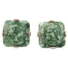 Mid Century Swank Buddha Green Quartz Gold Tone Men's Vintage Large Cufflinks