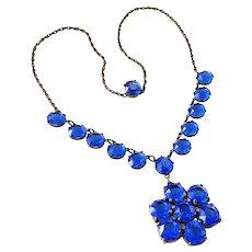 Art Deco Cobalt Blue Open Back Crystal Drop Choker Necklace