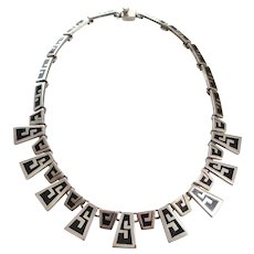Taxco Mexico Sterling Silver Black Enamel Aztec Style Vintage Necklace