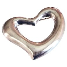 Large Mexican Sterling Silver Puffy Heart Brooch