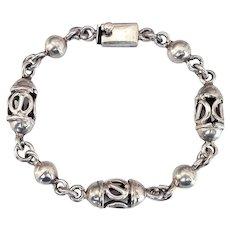 Taxco Mexico Sterling Silver Pierced Metal Ball Bead Bangle Bracelet