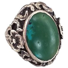 Vintage Art Nouveau Style Sterling Silver Ring with Repousse Floral Metalwork and Green Blue Turquoise, Size 5