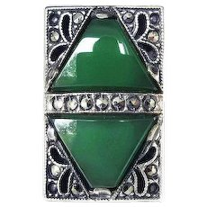 Vintage Theodor Fahrner Sterling Silver, Green Chrysoprase Stone and Marcasite Art Deco Ring, Size 4.5