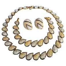 Vintage Butler Fifth Avenue Collection, Necklace Bracelet Earrings Set with Pave Rhinestones, Black Enamel, Gold and Silver Tone Metal