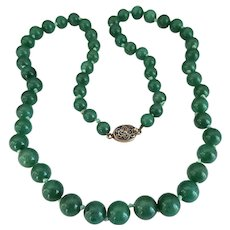 Vintage Single Strand Double Hand Knotted Nephrite Jade Bead Necklace with Silver Vermeil Filigree Clasp