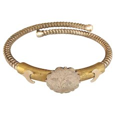 Victorian Aesthetic Period Gold Filled Coil Bangle Bracelet with Floral Motif