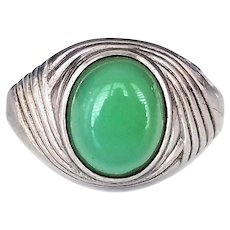 Clark and Coombs Sterling Silver Ring with Light Green Chrysoprase Stone, Size 6.5