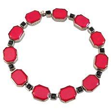 Art Deco Red and Black Geometric Czech Glass Bracelet, Made in Czechoslovakia