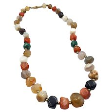 Vintage Onyx, Carnelian, Aventurine and Agate Quartz Bead Necklace with Gold Tone Metal Spacer Beads