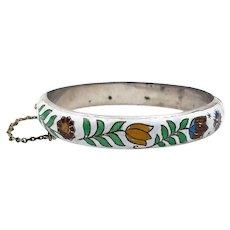 Vintage Siam Sterling White Enamel Flower Bangle Bracelet