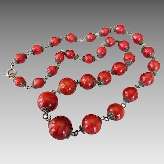 Art Deco Necklace Red Satin Glass Beads with Silver Tone Decorative End Caps