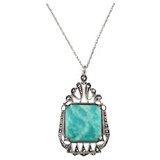 Art Deco Sterling Silver, Marcasite and Chrysoprase Stone Pendant Necklace