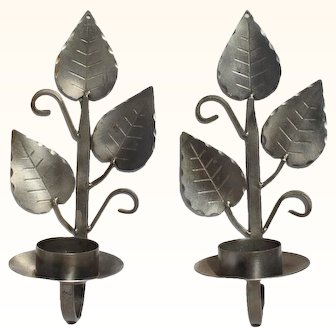 Pair Of Swedish Pewter Wall Sconce By Ahrnebergs, Sweden. Wall Mount Candle Holders Leaf Design