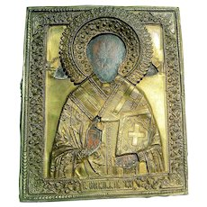 Antique 19Th Century Russian Brass Religious Icon Orthodox St. Nicholas Home Altar Decor