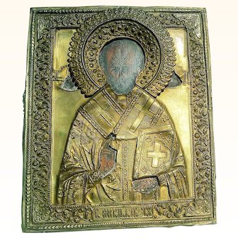 Antique 19Th Century Russian Brass Religious Icon Orthodox St. Nicholas Home Altar Decor