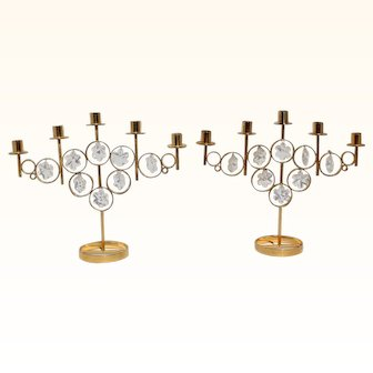 Pair of Argos Mantorp Sweden 24K Karat Gold Plated Candle Holder Swedish Brass Crystal Candle Stick Holders 5 Arms Candelabra