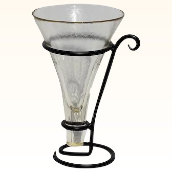 Scandinavian Modernist Black Metal & Glass Vase, Glass Vase Iron Stand Modern Wedding Centerpiece