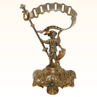 Antique French Victorian Bronze Figural Knives Holder Deponirt