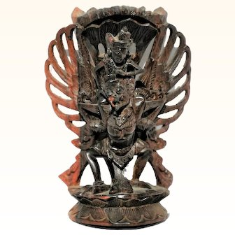 Beautiful Balinese Hand Carved Wood Vishnu Riding Garuda Antique Statue Wooden Sculpture Bali Indonesian