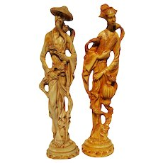 Signed Large Pair Of Male & Female Chinese Resin Figurines. Asian Man & Woman With Birds Statue
