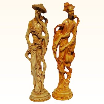 Signed Set Male & Female Chinese Resin Figurines Asian Man Woman With Birds Statue