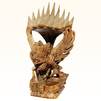 Antique Balinese Hand Carved Wood Garuda Statue Wooden Sculpture Bali Indonesian