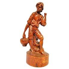 Hand Carved German Black Forest Wood Mountain Farmer Boy Figurine