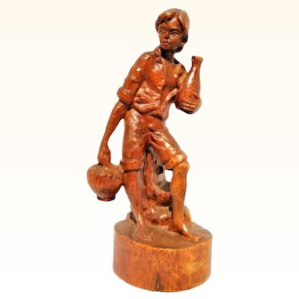Hand Carved German Black Forest Wood Mountain Farmer Boy Figurine