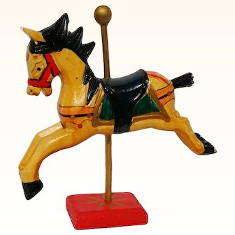 Wooden Folk Art Carved Horse Toy On Wood Stand