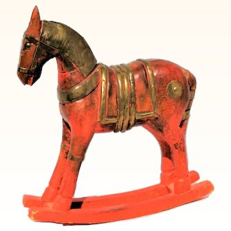 Antique Red Wood & Brass Rocking Horse Statue