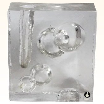 Uno Westerberg for Pukeberg Sweden Ice Glass Sculpture Modernist Scandinavian Vase