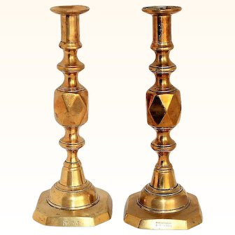 Antique Pair of Brass Queen of Diamonds Candlesticks