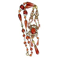Czech, Neiger, Red Swirly Glass, and White Enamel Victorian Revival Style Necklace