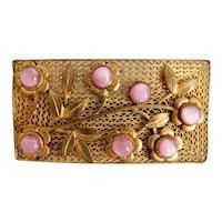 Neiger, Czech, Vintage, Filigree Brass, Pink Glass, Floral-Theme Brooch
