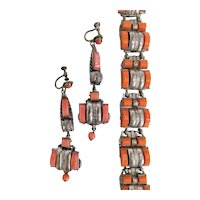 Czech, Neiger, Vintage, Art Deco, Orangey Glass, Silver-Plated Brass Earrings and Bracelet Set