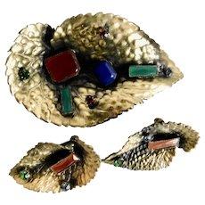 Vintage, Silver-tone Metal, Leaf Design, Multi-color Glass 1940's Brooch and Earrings Set