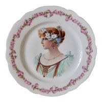 Austrian Porcelain Cabinet Plate, Art Nouveau Lady, Rose Floral Theme, Gold Gilt Edge