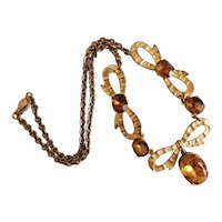 Vintage, Czech, Amber-Colored Glass, Brass, Art Deco, Bow Necklace