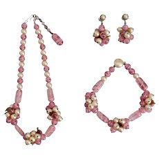 French, Vintage, Pink Swirly Glass and Faux Pearl 1940's Parure