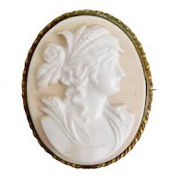 Czech, Classic Lady, Pink and White Molded Glass, Brass, Cameo Brooch